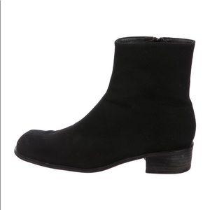 Stuart Weitzman Black Woven Ankle Boots